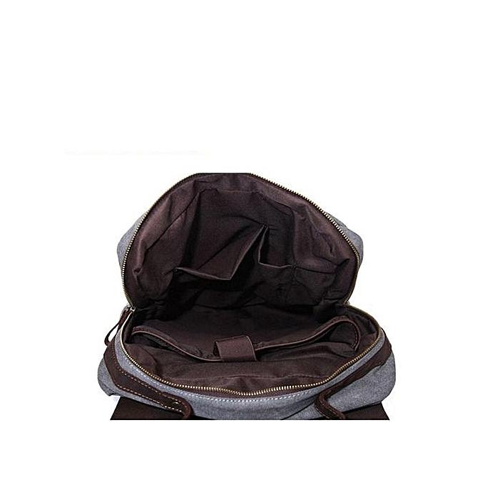 8df34f200d ... Men Women Canvas Leather Backpack Shoulder School Bag Travel Rucksack  Laptop HOT Dark Grey