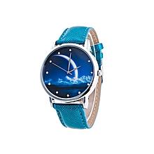 Women's Analog PU Leather Quartz Wrist Watches Women's Fashion Casual Watch - Blue