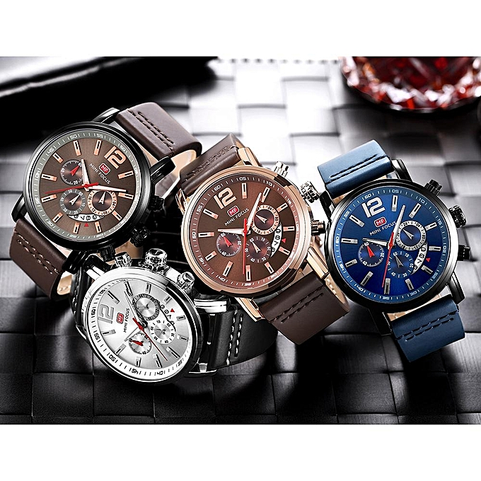 758f0d9e996 ... MINI FOCUS Mens Watches Top Brand Luxury Men s Military Sports Watch  Casual Leather Waterproof Quartz Watch ...