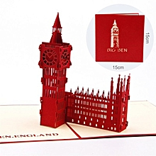 Big Ben 3D Hollow Carved Postcard Pop Up Greeting Cards For All Occasions red