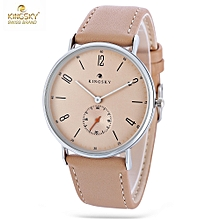 KINGSKY 102M Women Quartz Watch Working Sub-dial Leather Band Daily Water Resistance Wristwatch