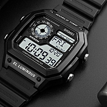Compass Sport Square Waterproof Shockproof Electronic Watch Black