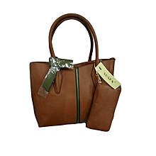 2 in 1 Leather Tote Bag - Brown