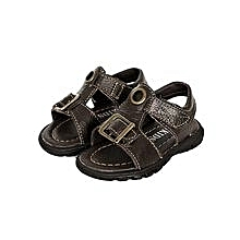 Dark/ Coffee Open Leather Sandals Velcro Straps In The Middle And In Front