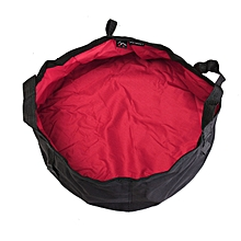 12L Portable Folding Wash Basin Bucket Water Bag Footbath Outdoor Camping BBQ Rose Red
