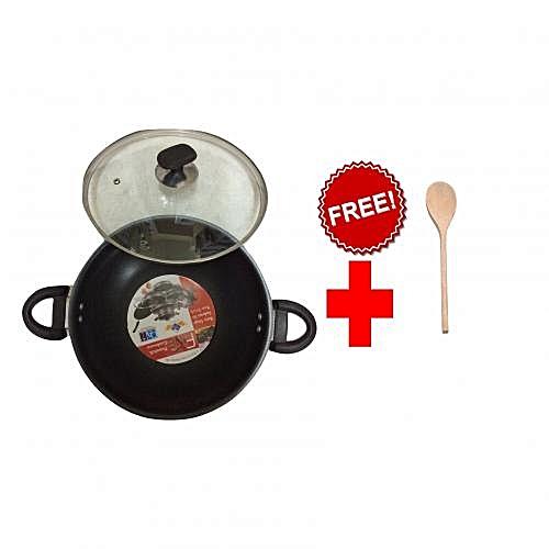 Fine Wok / Karhai - Glass lid - 28.0 cm - Black + FREE Cooking Spoon