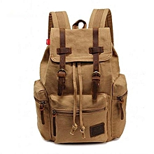 AUGUR New Fashion Men's Backpack Vintage Canvas Backpack School Bag Men's Travel Bags Large Capacity Travel Backpack Camping Bag(Khaki)
