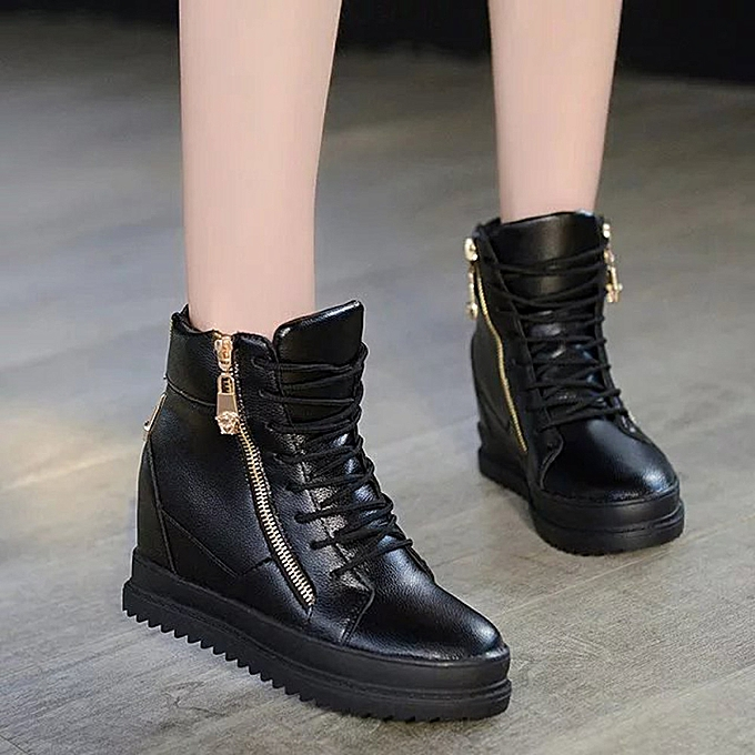 b6d410882b19 Xiuxingzi Wedges Ladies Casual High Increase High Shoe Slip Platform Shoes  Chaussure BK 36