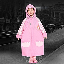 Age 3-12 Kids Reusable Raincoat Hooded With School Bag Cover, Pockets, Hood, And Sleeves(Rose Red M)