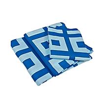 Flat Bedsheet Set - Blue & Light Multicoloured