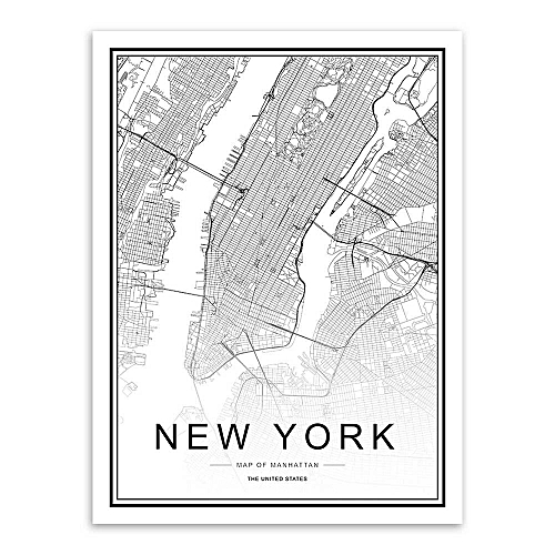 Map Of New York Poster.World City Map London Paris New York Poster Nordic Home Deco Art Canvas Painting New York Framed