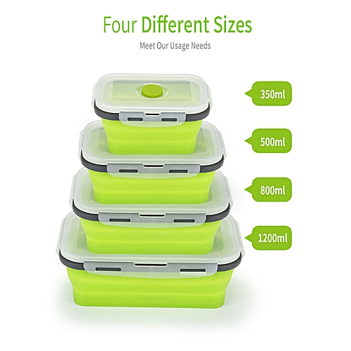 f908d5bfa843 Honana Silicone Folding Bento Box Collapsible Portable Lunch Box For Food  Dinnerware Food Container Food Bowl # 1200ML