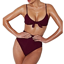 douajso Women Solid Bowknot High Waist Bikini Set Two Piece Swimsuit Swimwear Beach Suit