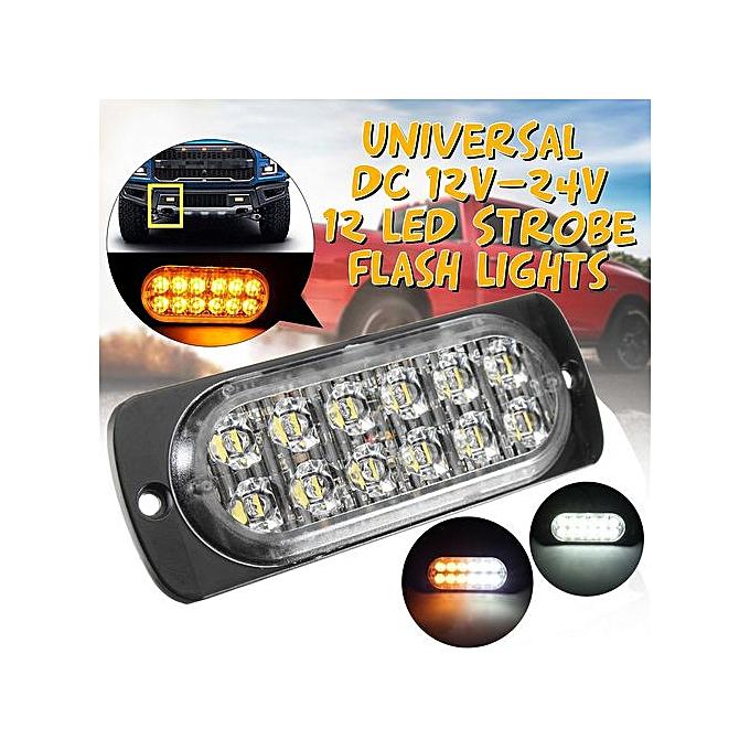 2pcs Ultra Slim 36W Amber 12-LED Surface Mount Flashing Strobe Light Car  12V-24V Bulb Color: White