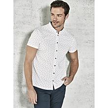 White Printed Skinny Male Shirt