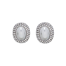 Silver Diamante & Pearl Oval Earrings.
