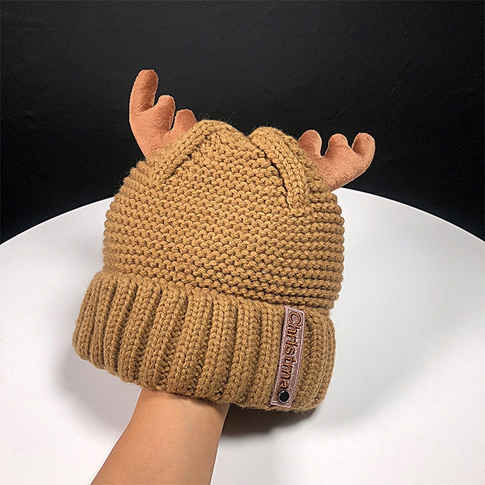 30170418f2b90 Women Autumn Winter Cashmere Antler Hat Knitting Wool Warm Christmas Hat  yumisok