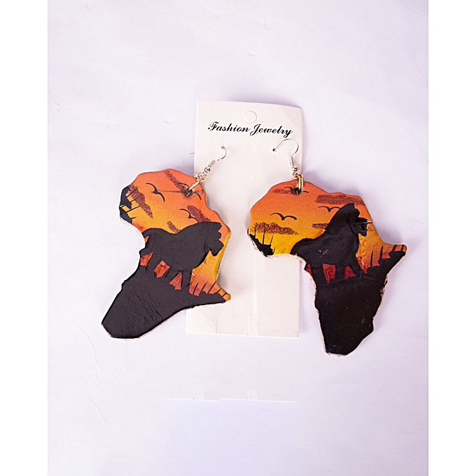 Buy Generic Leather African Map Brown Earring With A Lion Sunset ...