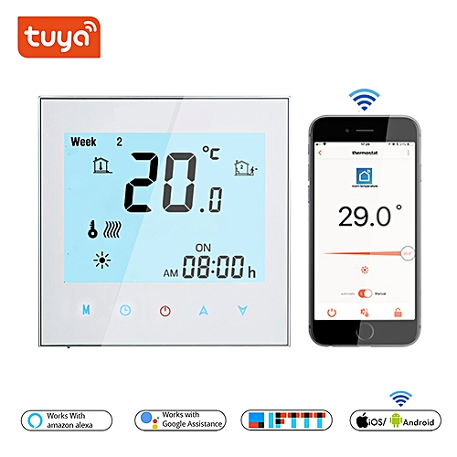 Thermostat WiFi Temperature Controller for Electric /Water/Gas Boiler Floor  Heating Termostato wifi TUYA Smart Life in 16A/3A(Black)( Water Heating)