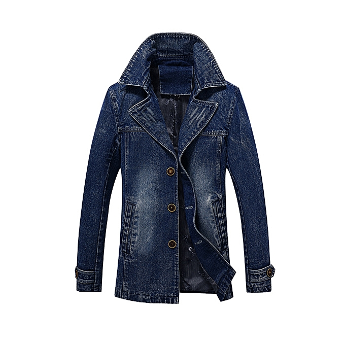 94931549d1 Fashion Mens Mid Long Denim Jackets Single Breasted Lapel Jeans Coat ...