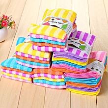 5pcs/set 30*30cm Double Color Stripes Dishcloth Kitchen Cleaning Towel -Random Color