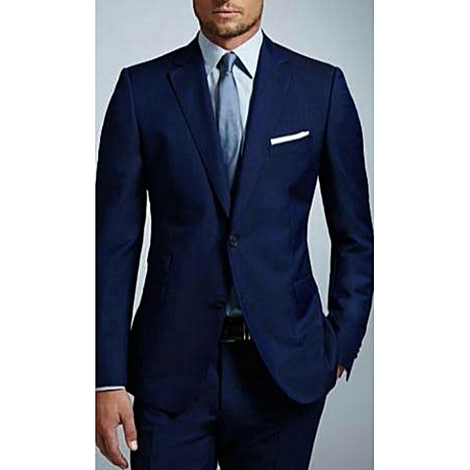 Dark Navy Blue Regular Fit Wool 2 Piece Suit