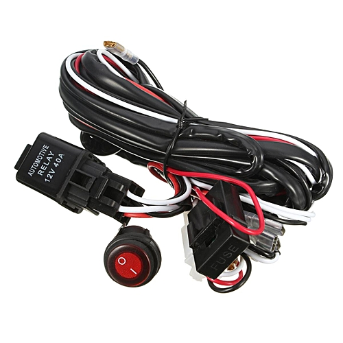 generic 40 amp off road atv/jeep led light bar wiring harness relay &  on/off switch (red)