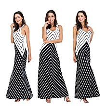 Nigerian Sleeveless Strap Maxi Dresses Evening Gown-Black
