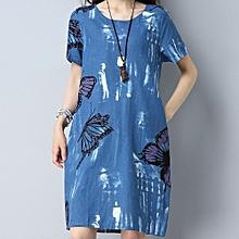 High-end Women Large Size Bohemian Butterfly Print Short-sleeved Cotton Linen Dress