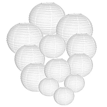 10 pieces - Chinese Paper Lanterns / Ball Lampshades - 25cm white