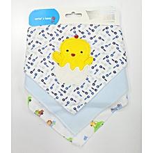 3 pieces Set - Baby Infant Soft Cotton Dribble Bibs ( Bandana bibs) - Blue theme .