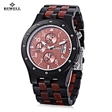 ZS - W109D Male Wooden Quartz Watch Japan Movt Working Sub-dial Date Display Wristwatch-EBONY WITH RED SANDALWOOD