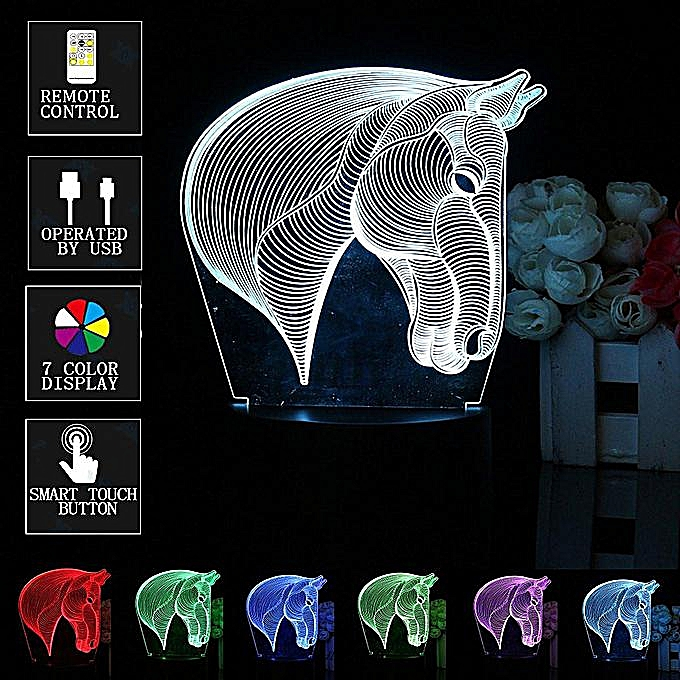 Horsehead 7 Discolored Night Lamp Home Decoration Bedroom 3D Acrylic Led  Art Lamp