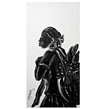 african wall painting  - 26 by 58cms - monochrome