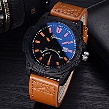 Olivaren Fashion GONEWA Men Date Stainless Steel Leather Analog Quartz Sport Wrist WatchCoffee