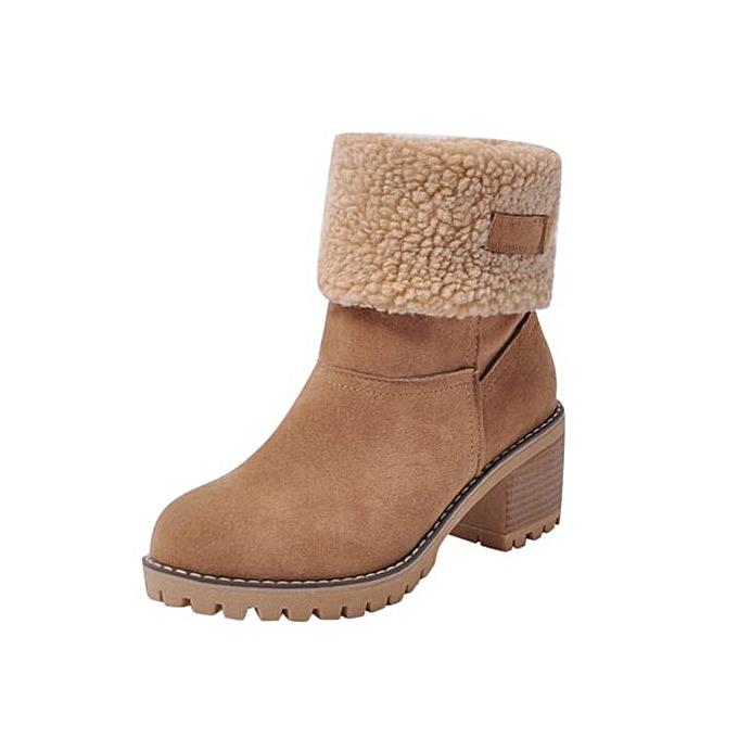 5f774526ba5f Jiahsyc Store Women s Ladies Winter Shoes Flock Warm Boots Martin Snow  Boots Short Bootie-Brown
