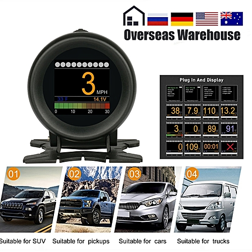 X60 OBD2 Display Speedmeter Tachometer Battery Voltage Water Oil Pressure  Temperature Gauge Mileage Auto Scanner HUD YOUENS