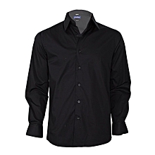 Black Long Sleeved Slim Fit Shirt
