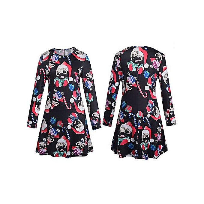 e350ad33bd66 Hiaojbk Store Xmas Print Swing Dress Ladies Christmas Long Sleeve Flared  Party Dresses L-Black