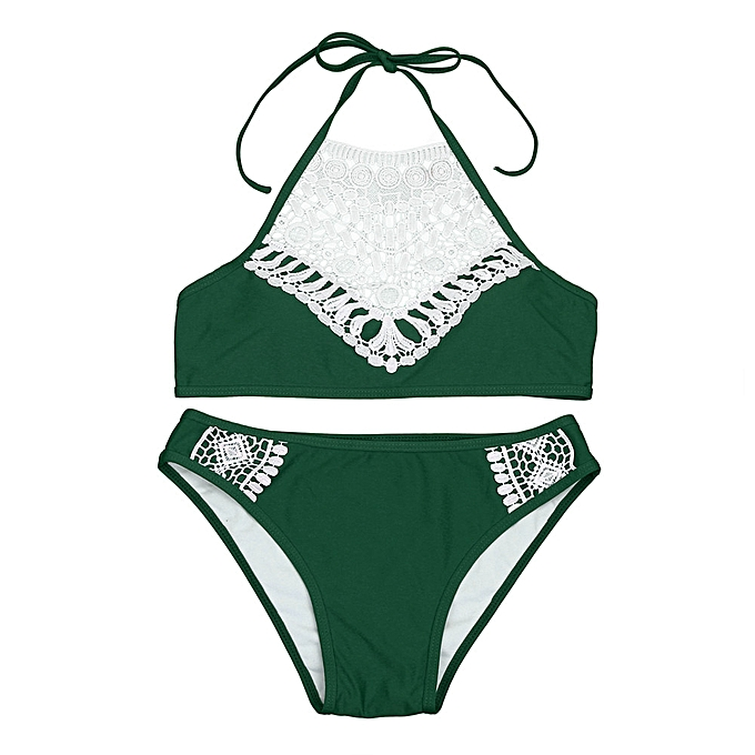 e2e69a2cfda ... huskspo Women Sandy Beach Bra Bra Sexy Bikini Swimsuit Set Beach  Swimwear GN L-Green ...