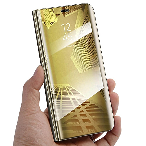 pretty nice d92a8 ed5dc For Huawei Honor 7C Flip Cover Luxury Plating Smart Case Clear View Mirror  Transparent Casing For Honor 7C Case Housing (Gold)