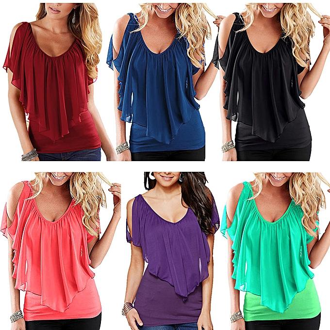 fc565a84c9a44 ... Sexy Women Blouse V Neck Cold Shoulder Ruffles Sleeveless Solid T-Shirt  Vest Tank Summer