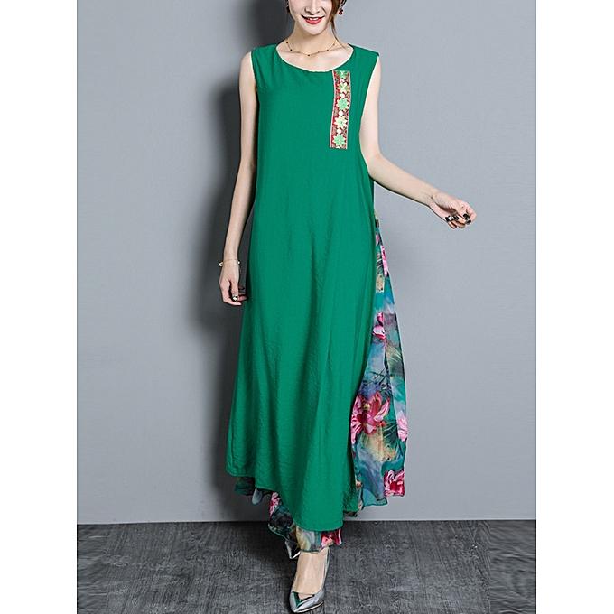41cd9e485eabdc Buy Fashion Women Vintage Sleeveless Cotton Chiffon Maxi Dress ...