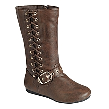 Brown Lace-Up Buckle Boots