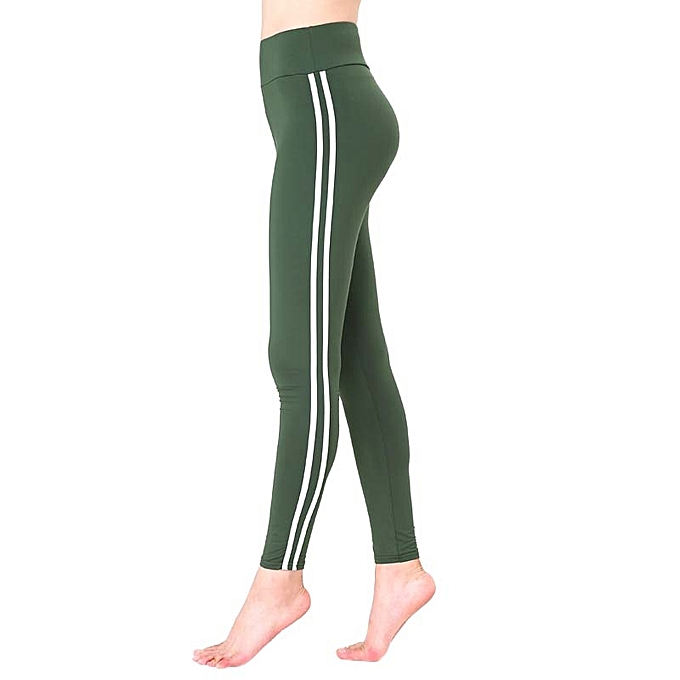 0bf1a6a3c10 Generic Autumn Winter Women Yoga Pants Sweatpants Outdoor Casual Pants  Trousers High Waist Skinny Striped Fitness Gym Pants - army green