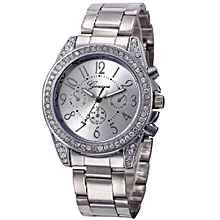 Women Diamond Metal Band Analog Quartz Fashion Wrist Watch -Silver