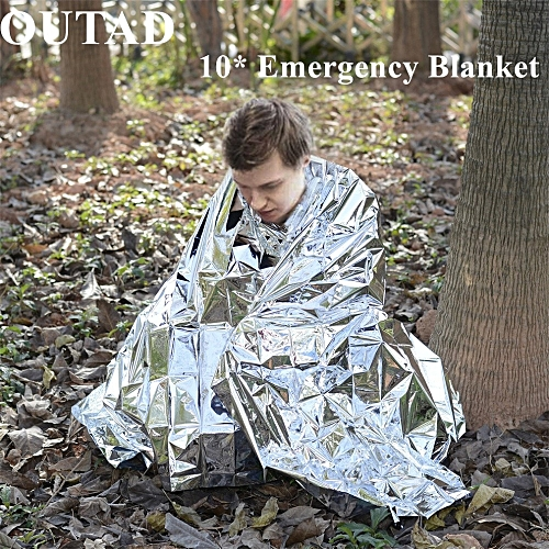 10Pack Emergency Survival Thermal Blanket Outdoor Waterproof Windproof  Reusable First Aid Sun Shade Ground Cover(# )