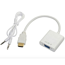 HDMI To VGA Converter Cable With Audio Port White