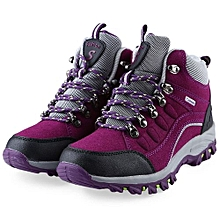 Casual Outdoor Block Color Lace Up Ladies Hiking Sports Shoes-PURPLE