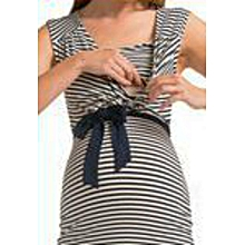 Black & White Striped Maternity / Nursing Dress